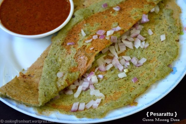 Apong and moong bean dosa