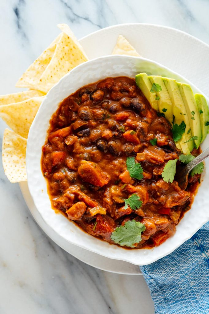 Vegan Chilli with spicy green peppers