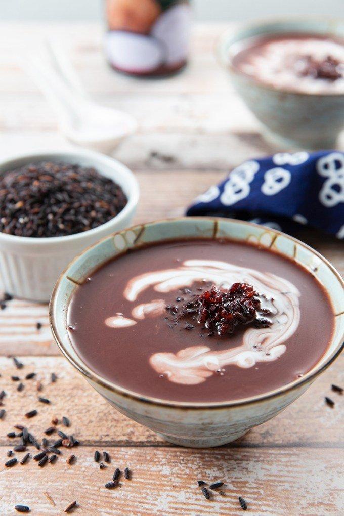 Purple Rice Soup with Coconut milk